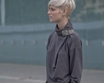 Winter Sale 15% Off!!! DARK grey Oversized boyfriend  french sweatshirt