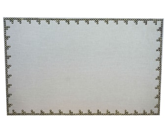 Cork Board Bulletin Board 21x35 Linen and Nailheads Pin Board