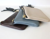 LUCIE Leather DARK BROWN wallet leather with black tassel