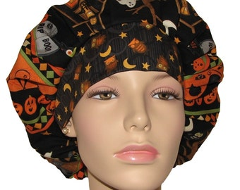 Halloween Scaredy Cats-Scrub Hat-Scrub Cap-ScrubHeads-Women's Scrub Hat-Surgical Hat-Surgical Cap-Holiday Scrub Hats-Etsy Scrub Hats-Gift
