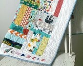 Baby boy quilt, pram quilt, personalized quilt, customised patchwork blanket, comforter, christening gift