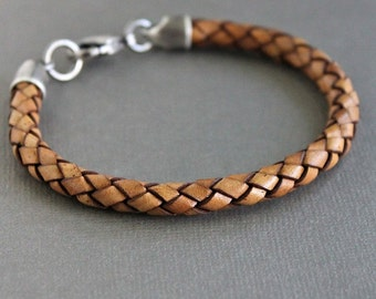 Mens Leather Braid Bracelet, Light Brown Cord Bracelet, Sterling Silver