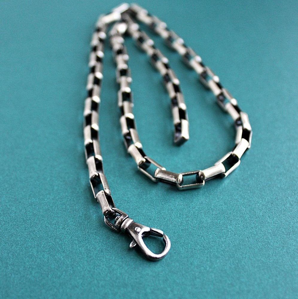 Men's Large Box Link Chain Necklace Sterling Silver