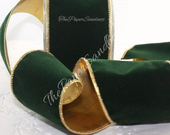 """Christmas Ribbon, Wired Green/Gold Velvet 2.5"""" wide, Ribbon by the yard, Christmas Ribbon, Bows, Gift Wrap, Wreaths, Party Supplies"""