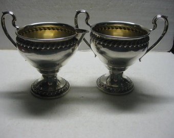 Vintage Rogers sterling silver sugar and creamer #121417