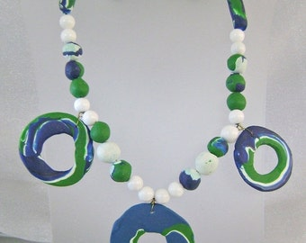 SALE 1970s Retro Vintage Necklace Blue Green White Clay and Glass