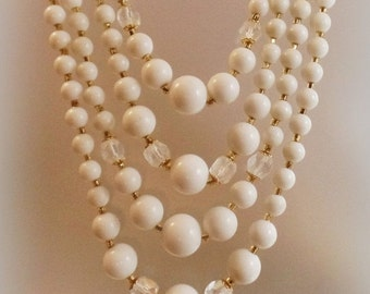 FALL SALE Vintage Wedding White Glass Beaded Necklace. Japan. Four Strand Milk Glass and Austrian Crystal Bead Necklace.