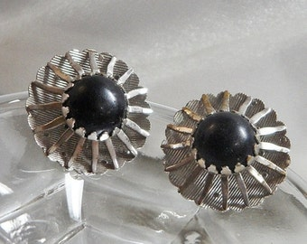 FALL SALE Vintage Black Beauty Sarah Coventry Earrings. 1967. Atomic. Silver Tone.