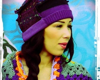 Upcycled Beani Hat Purple Mixed Wool Recycled Sweater Hat