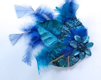 Delicate Blue Burlesque Feather Hair Clip