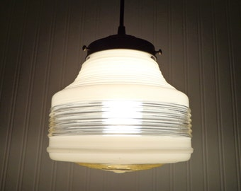 Mid Century MODERN Milk Glass and Clear Globe PENDANT Light Retro Antique Kitchen Bathroom