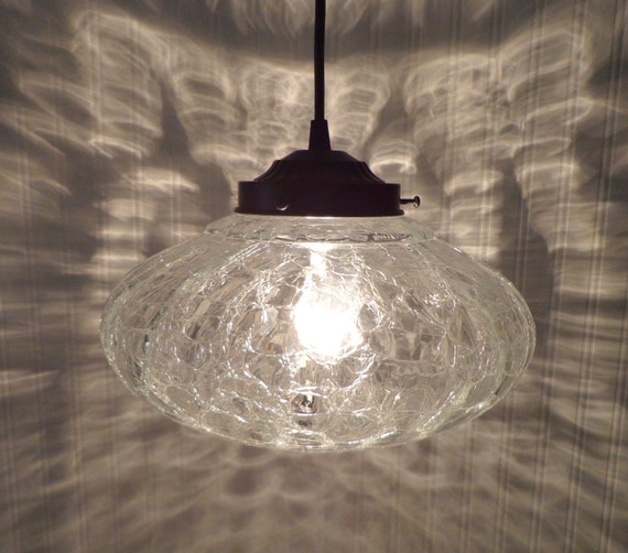 Kennibec Large Mid Century Crackle Glass Pendant Light