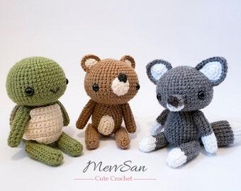 Crochet Woodland Critters PATTERN BUNDLE 3 - Amigurumi Bear, Turtle, Wolf Plush Dolls