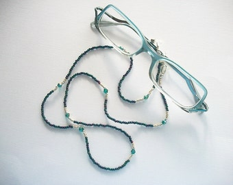 Eyeglass Necklace Beaded Lanyard with Teal and Purple Seed Beads and Teal Swarovski Bicone Crystals