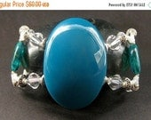 VALENTINE SALE Beaded Teal Bracelet, Crystal Cuff Bracelet. Handmade Jewelry by Gilliauna