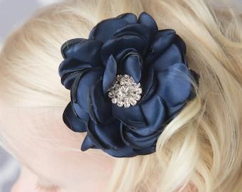 Navy rose flower hair clip, flower girl gift, photography prop, toddler hair clip, girl birthday gift, girl hair clip, hair accessory, baby