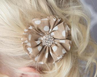 Tan Polka dot flower clip, tan flower clip, beige wedding flower girl, champagne hair clip, toddler hair clip, girl birthday gift hair bow