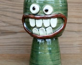 Ceramic Goblets Stoneware Clay Wine Glass in Green. Funny Happy Smiley Face Chalice. Uncommon Toasting Glass with Sense of Humor.