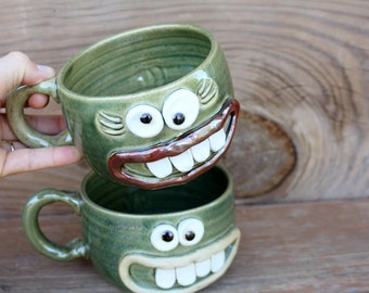 His Hers Gift Set of Matching Pottery Soup Bowls. Green Stoneware Ceramic Cereal Bowls with handle. Mr. and Mrs. Pair of Cappuccino Mugs.