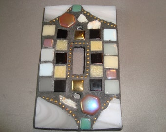 MOSAIC LIGHT SWITCH Plate Cover - Single,  Wall Plate, Home Decor, Gray, Multicolor