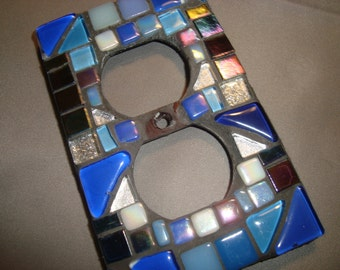 MOSAIC Electrical Outlet COVER, Blue, Silver, White
