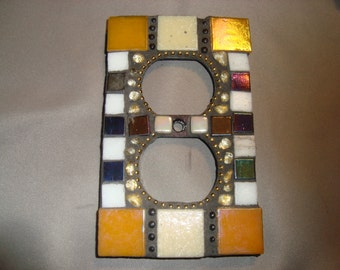 MOSAIC Electrical Outlet COVER , Wall Plate, Wall Art, Gold, Beige, White, Iridescent Black