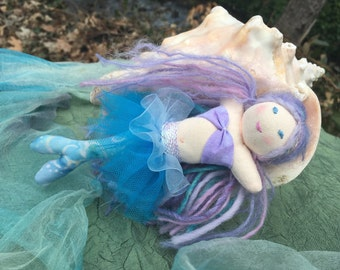 Waldorf Mermaid Doll 7 inch Waldorf-inspired Mermaid Baby Doll  Blue Batik Tail Merchild