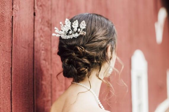 Leaf Bridal Comb, Pearl Bridal Comb, Crystal Hair Comb, Wedding Hair Comb, Hair Comb Bridal, Bridal Side Comb, Silver Hair Comb, Pearl Comb