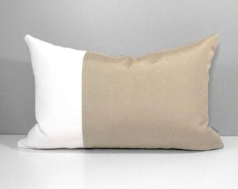 Beige & White Outdoor Pillow Cover, Modern Color Block, Decorative Throw Pillow Case, Antique Beige Sunbrella Pillow Cushion Cover