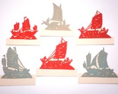 Set of 6 Antique 1920s Place Cards - CHINESE SAILING BOATS w/ People on Board