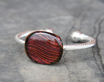 Fused Glass Bracelet - Orange Purple Lines