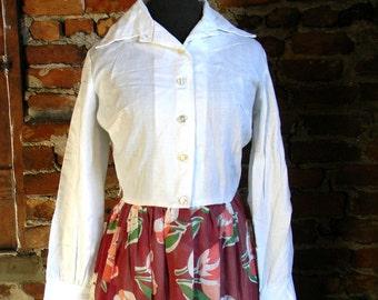 Vintage Maxi Dress, 1970s Full Length Floral Dress, Floral Shirtwaist Dress, Size Medium 1970s Dress, Floral Maxi Dress, Cotton Maxi Dress