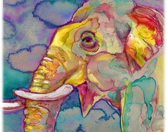 Asian Elephant Watercolor Painting Print, Artist-Signed
