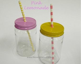 Mason Jar, 10 Lemonade Stand Plastic Mason Jars & Metal Jar Lids, Pink Lemonade, Mason Jar Cups, Plastic Cup, Kids Party Cups, Baby Shower