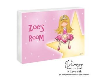 Princess room sign, personalized door sign, kids art, pink door plaque, purple name sign, kids door sign, custom name sign for kids room