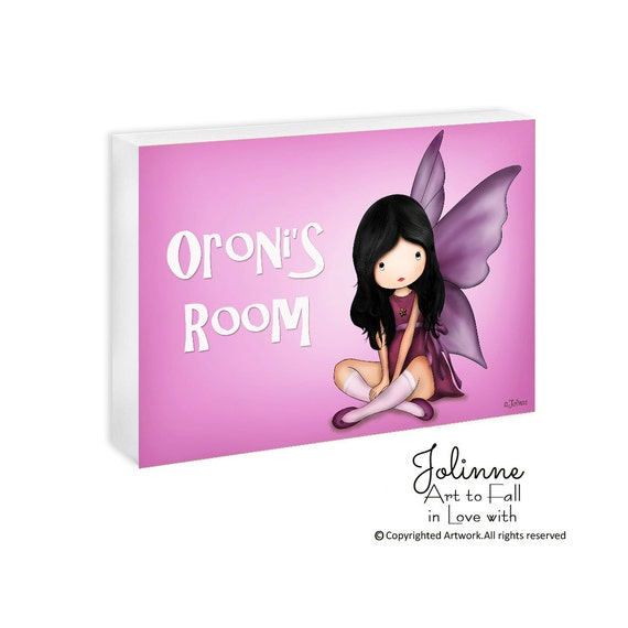 Angel fairy personalized door plaque, custom name sign,children pink room sign, door sign for girls room or nursery, girls room welcome sign