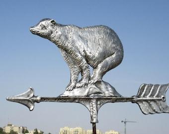 Bear shape weather vane made of cast aluminum