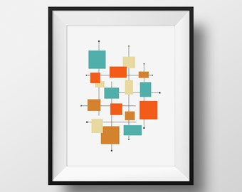 Mid Century Modern Art, Retro Decor Ideas, Mid Century Wall Art, Mid-