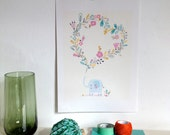 """Poster for children, sweet elephant with a heart illustration, Art print for the kids room - size A4 = 8, 27 x 11, 7"""""""