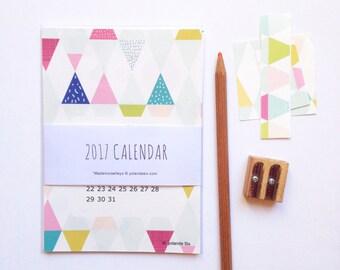 2017 calendar - 2017 wall calendar - 2017 desk calendar - 12 cards - colorful geometric patterns