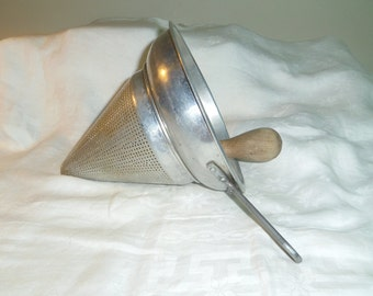 """Conical Sieve Strainer with Wood Pestle Sieve, 9.5"""" long, Wood Pestle 11"""" long, Kitchen Decor, Vintage Kitchen"""