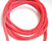 Twisted cotton cord, 6 mm, coral pink, 2 meters