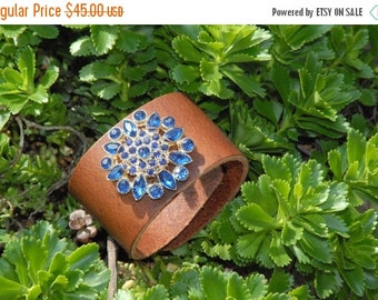 ON SALE in JULY Repurposed Vintage Brooch on Leather Cuff, Embellished Cuff, Vintage Estate Blue Brooch, Leather Cuff  Hand Sewn, Womens Cuf
