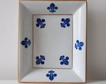 Vintage Fleur de lis Jewelry Tray - Golden Rim Porcelain Dish