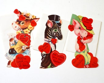 Vintage 1950s Valentines Cards / Unused Set of 3 with Envelopes, Articulated, Anthropomorphic Animals