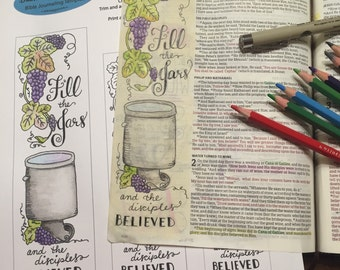 Bible Journaling Verse Art - Margin Art - Bookmark featuring John 2 - Fill the Jars