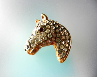 Early 1960s  Pave Gold Horse Brooch, Goldtone Horse Head Studded with Clear Rhinestones, red  Rhinestone Eye - Horse Jewellery - Art.158/4 -