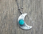 mini crescent moon necklace - sterling silver moon necklace - turquoise moon necklace - turquoise necklace