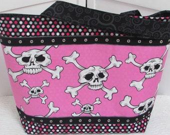 Hot Pink Hula Skulls Large Tote Bag Pink and Grey Polka Dot Purse Purse Alternative Fashion Shoulder Bag Ready To Ship