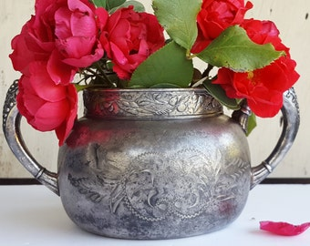 Aesthetic Spooner Vase, Vintage Silverplate, Tarnished and Worn, Shabby and Sweet, Morning Glory Pattern, Victorian Decor